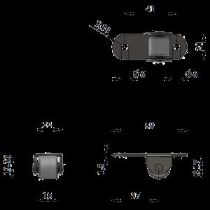 172-Опора роликовая прямая (Рез.колесо) / 400 шт.