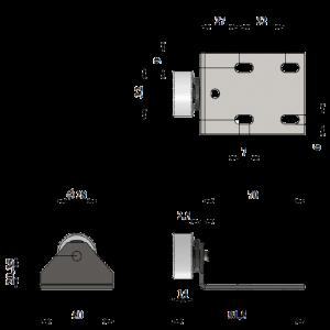 282-Опора колесная угловая (Рез.колесо) / 100 шт.