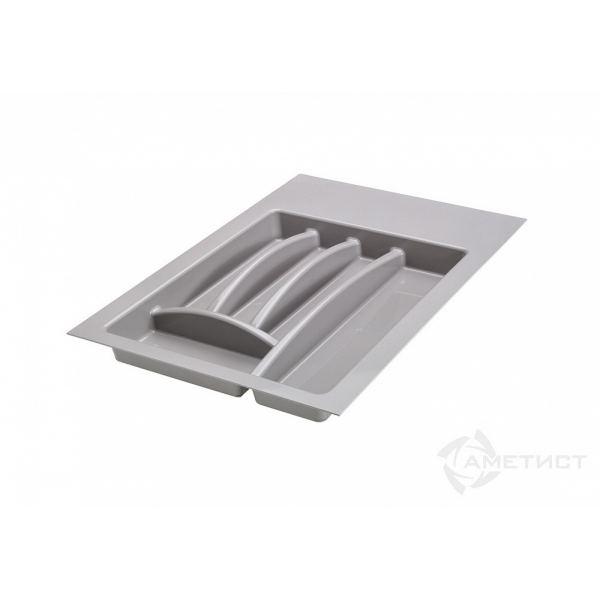 Лоток для столовых приборов в ящик серый 400 мм