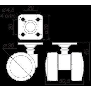 N105BL/GR.5 (Мебельное колесо, d=35мм, крепление площадка)