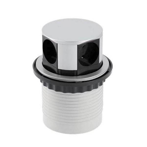 Удлинитель круглый врезной 4 розетки CHARGER (Schucko), провод 1,5м, алюминий