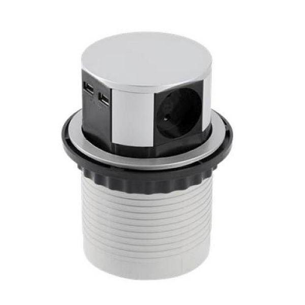 Удлинитель круглый врезной 3 розетки CHARGER (Schucko) 2xUSB 2,4A, провод 1,5м, алюминий