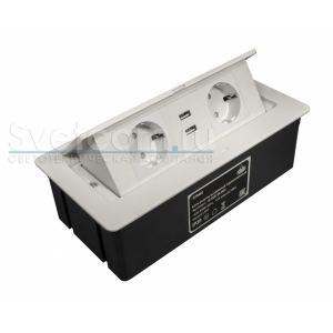 S 2 EURO + 2 USB | Блок розеток выдвижной горизонтальный со шнуром питания