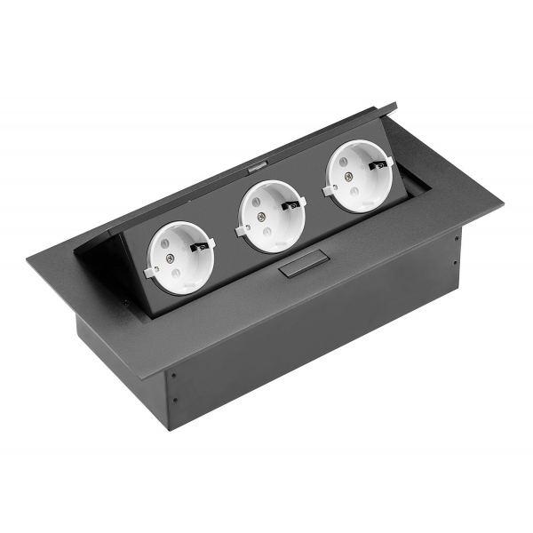 Удлинитель прямоугольный врезной 3 розетки AE-PB03GS-20 (Schucko) черный, без провода
