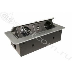 2 EURO + 2 USB | Блок розеток выдвижной горизонтальный со шнуром питания ЧЕРНАЯ