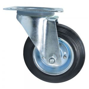 Колесо поворотное на площадке 160 мм черная резина Акция