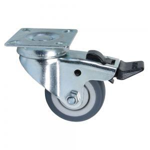 Колесо поворотное на площадке с тормозом 100 мм серая резина  Акция