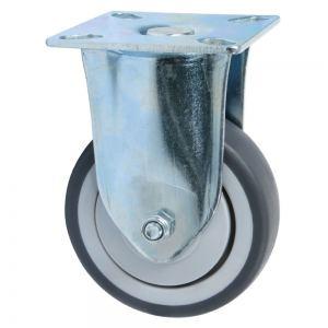 Колесо неповоротное на площадке 75 мм серая резина Акция