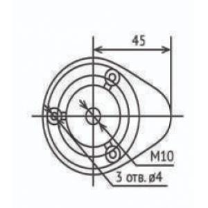 Опора кухонная разборная  Н-100мм с упором черная 3 отверстия