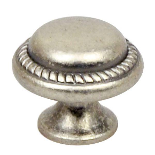Винтажная ручка-кнопка Almeria, Ø28,2 мм, античное серебро